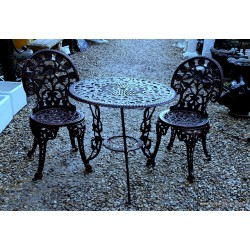 Garden Table & 2 Chairs Black