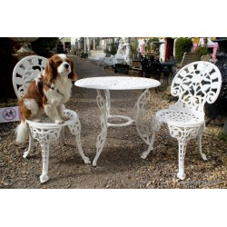 Garden Table & 2 Chairs White