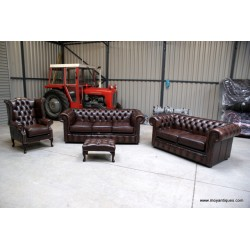 Chesterfield Suite Sofa, Wing and Tub Ant Brown