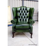 Chesterfield Suite Sofa, Wing and Tub Green