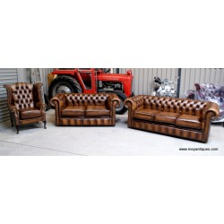 Chesterfield Suite Sofa, Wing and Tub Bronze