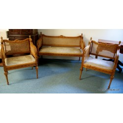 Settee and 2 chairs Bergere