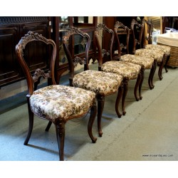 Set 6 Victorian Walnut Chairs