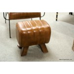 Leather Chair and Stool Tan