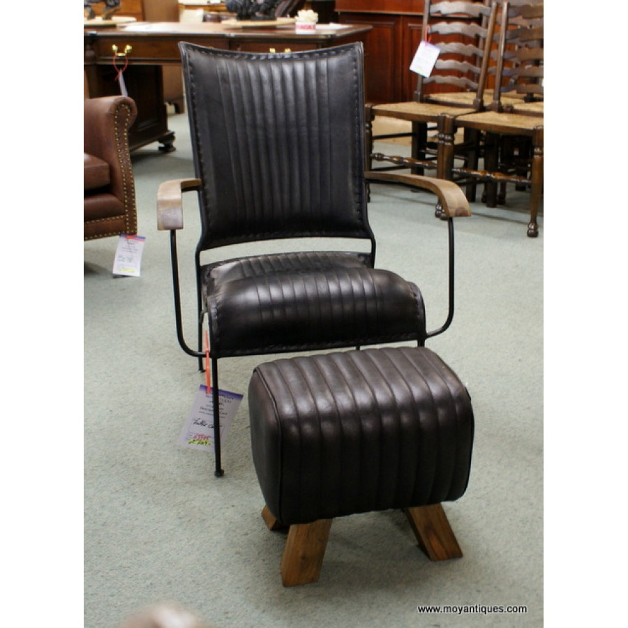 Leather Chair and Stool Black