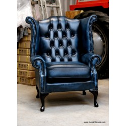 Chesterfield Wing Chair Blue
