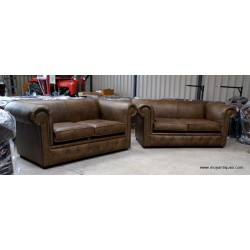 Chesterfield Sofa Smooth Pair