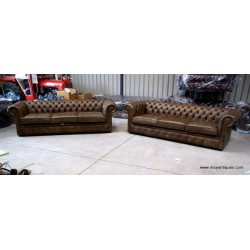 Chesterfield Sofa Pair 4 seaters