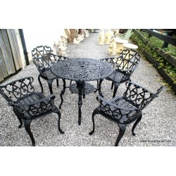 Cast Table & 4 Chairs Black
