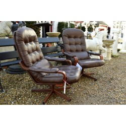 Retro Scaninavian Pair Leather Swivel Chairs