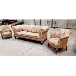 Victorian Chesterfield Sofa & Chairs OLD