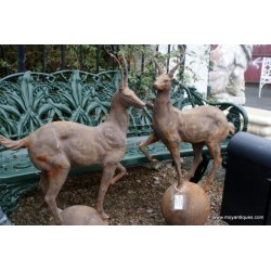 Pair Cast Iron Stag Finials