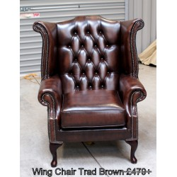 Chesterfield Wing Chair Brown