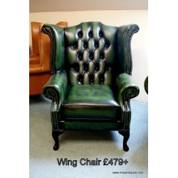 Chesterfield Wing Chair Green