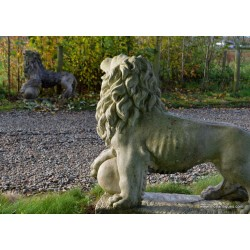 Pair Stone Lions with Ball